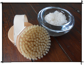 dry skin brush and dead sea salt crystals